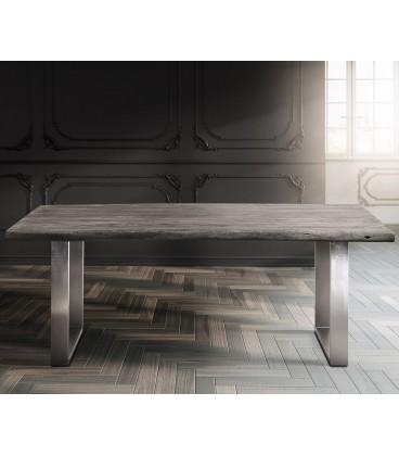 Jídelní Stůl Live 200x100 cm Akácie Platina Deska 5.5 cm Nohy Úzké