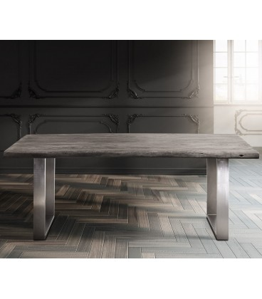 Jídelní Stůl Live 180x90 cm Akácie Platina Deska 5.5 cm Nohy Úzké