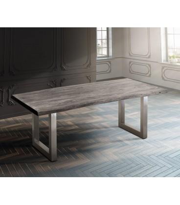 Jídelní Stůl Live 200x100 cm Akácie Platina Deska 5.5 cm Nohy Široké