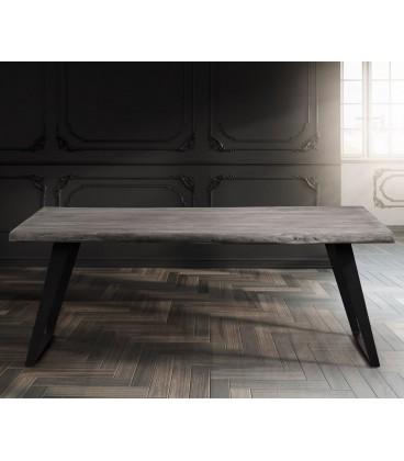 Jídelní Stůl Live 200x100 cm Akácie Platina Deska 5.5 cm Nohy Šikmé Černé