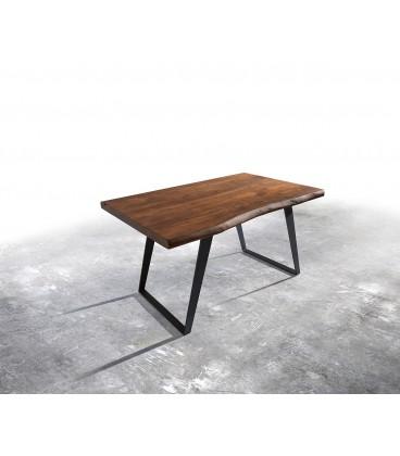 Jídelní Stůl Live 140x90 cm Akácie Hnědá Deska 5 cm Nohy Šikmé Černé