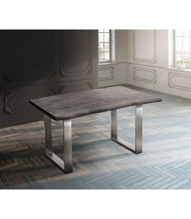 Jídelní Stůl Live 140x90 cm Akácie Platina Deska 5 cm Nohy Úzké