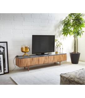 Televizní Stolek Thia 175x35 cm Mramor Akácie Přírodní 3 Dvířka
