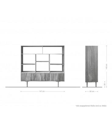 Skříňka Thia 147x35 cm Mramor Akácie Přírodní 11 Fochů