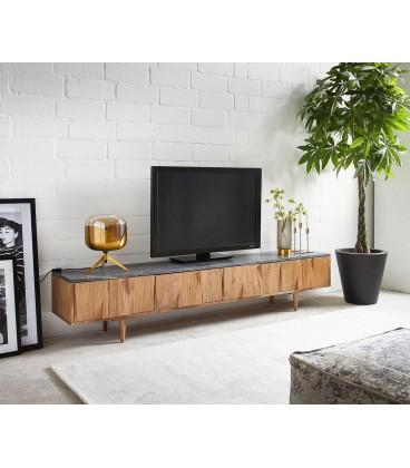 Televizní Stolek Thia 200x35 cm Mramor Akácie Přírodní 4 Dvířka