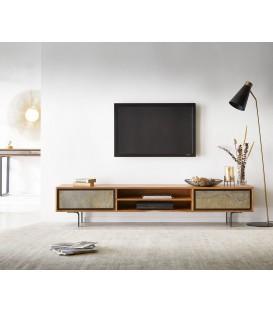 Televizní stolek Juwe 200 cm Akácie Přírodní Kamenná Dýha 2 Dvířka