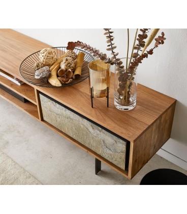 Televizní stolek Juwe 200 cm Akácie Přírodní Kamenná Dýna 2 Dvířka