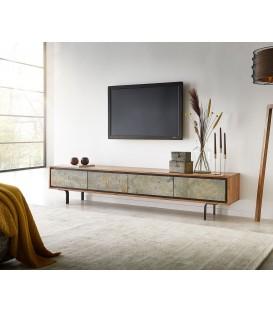 Televizní stolek Juwe 200 cm Akácie Přírodní Kamenná Dýha 4 Dvířka