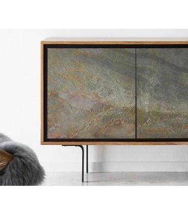 Komoda Juwe 150 cm Akácie Přírodní Kamenná Dýha