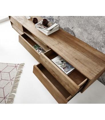 Televizní stolek Eloi 200x40 cm Exotické Dřevo Přírodní 1 Foch 5 Šuplíků