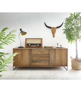Komoda Dona 175 cm Exotické Dřevo Přírodní 2 Dvířka 3 Šuplíky