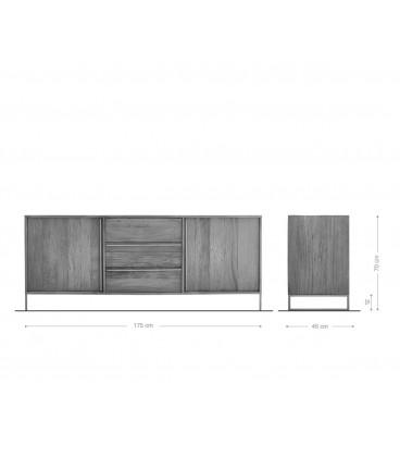 Komoda Odon 175 cm Exotické Dřevo Přírodní 2 Dvířka 3 Šuplíky