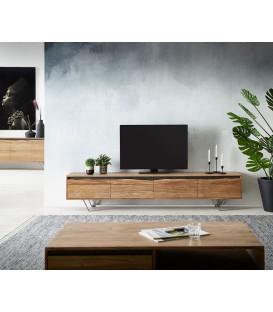 Televizní stolek Kamenina 220 cm Akácie Přírodní 4 Dvířka Live