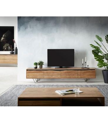Televizní stolek Kamenina 220 cm Akácie Přírodní 4 Dvířka