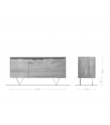 Komoda Kamenina 147 cm Akácie Přírodní 3 Dvířka