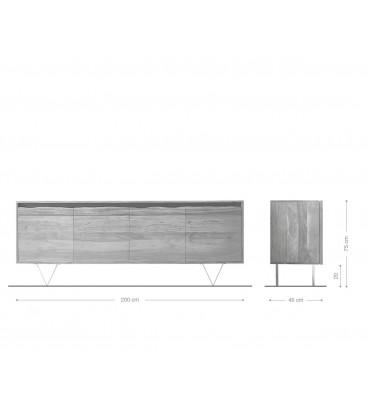 Komoda Kamenina 200 cm Akácie Přírodní 3 Dvířka Live