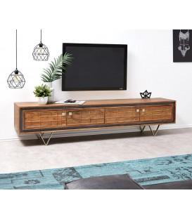 Televizní stolek Kamenina 200 cm Akácie Přírodní 4 Dvířka Frézované