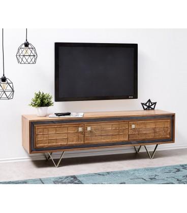 Televizní stolek Kamenina 147 cm Akácie Přírodní 3 Dvířka Frézované