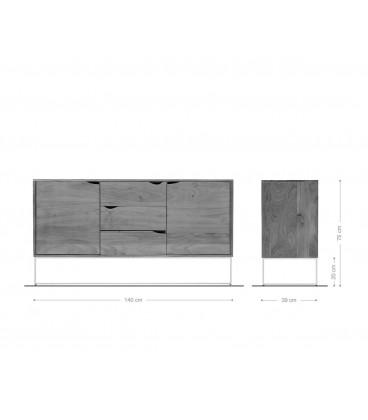 Komoda Toca 140 cm Akácie Přírodní 2 Dvířka 3 Šuplíky
