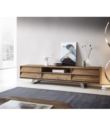 Televizní stolek Eloi 200x40 cm Teak Přírodní 1 Foch 5 Šuplíků