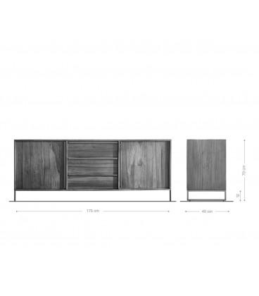 Komoda Odon 175x45 cm Teak Přírodní 2 Dvířka 3 Šuplíky