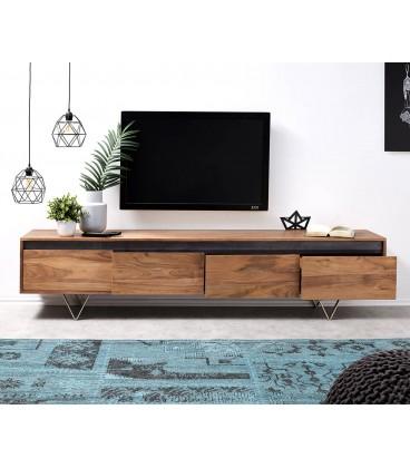 Televizní stolek Design Kamenina 200 cm Akácie Přírodní 4 Šuplíky