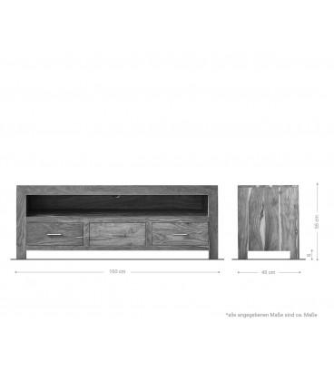 Televizní Stolek Vida 150 cm Akácie Přírodní 3 Šuplíky
