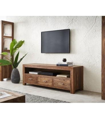Televizní Stolek Vida 150 cm Sheesham Přírodní 3 Šuplíky
