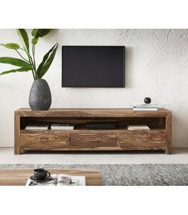 Televizní Stolek Vida 200 cm Sheesham Přírodní 3 Šuplíky