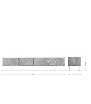 Televizní Stolek Macino 200 cm Sheesham Přírodní Mramor Bílý
