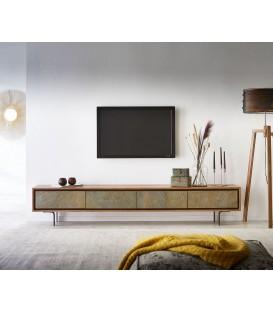 Televizní stolek Juwe 220 cm Akácie Přírodní Kamenná Dýha 4 Dvířka
