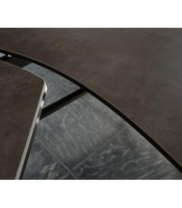 Jídelní Stůl Carlo 130/200x90 cm Keramika Hnědá Nerez Rozkládací