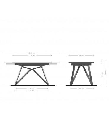 Jídelní Stůl Carlo 130/200x90 cm Keramika Šedá Kov Rozkládací