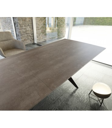 Jídelní Stůl Edon 160/200x90 cm Keramika Hnědá Kov Rozkládací