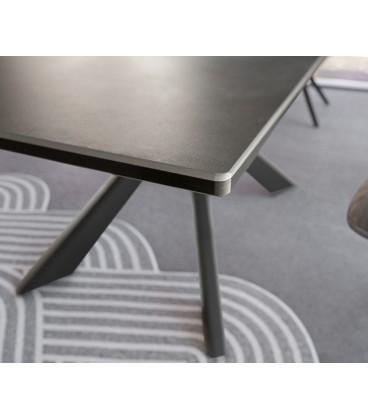 Jídelní Stůl Daven 160/200x90 cm Keramika Šedá Kov Rozkládací