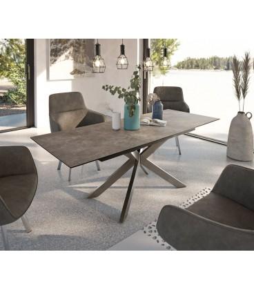 Jídelní Stůl Daven 160/200x90 cm Keramika Hnědá Nerez Rozkládací