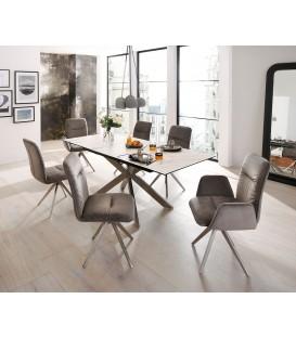 Jídelní Stůl Mave 160/200x90 cm Keramika Bílá Nerez Rozkládací