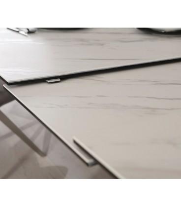 Jídelní Stůl Daven 160/200x90 cm Keramika Bílá Nerez Rozkládací