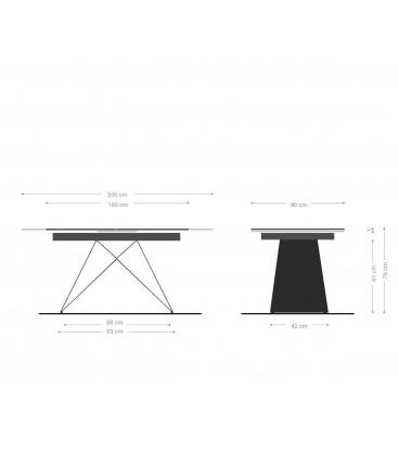 Jídelní Stůl Davion 160/200x90 cm Keramika Šedá Kov Rozkládací