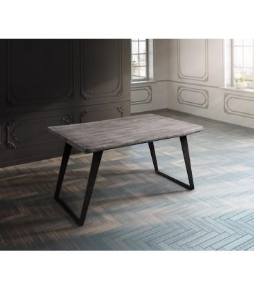 Jídelní Stůl Live 140x90 cm Akácie Platina Deska 5 cm Nohy Šikmé Černé