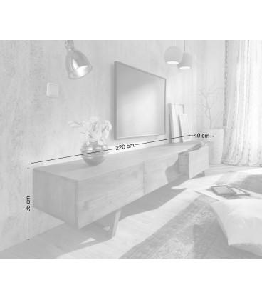 Televizní Stolek Design W 220 cm Platina Platina 3 Šuplíky