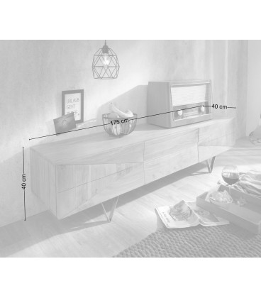 Televizní Stolek Design WA 175 cm Akácie Hnědá 3 Dvířka