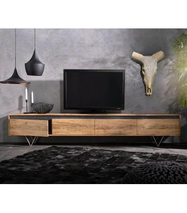 Televizní Stolek Kamenina 240 cm Akácie Přírodní 4 Dvířka