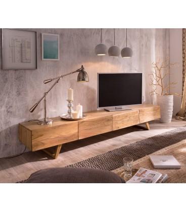 Televizní Stolek Design W 220 cm Akácie Hnědá 3 Šuplíky