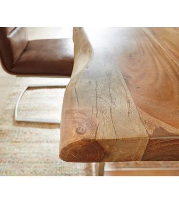 Jídelní Stůl Live 140x90 cm Akácie Přírodní Deska 5 cm Nohy Úzké