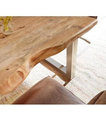 Jídelní Stůl Live 140x90 cm Akácie Přírodní Deska 5 cm Nohy Široké