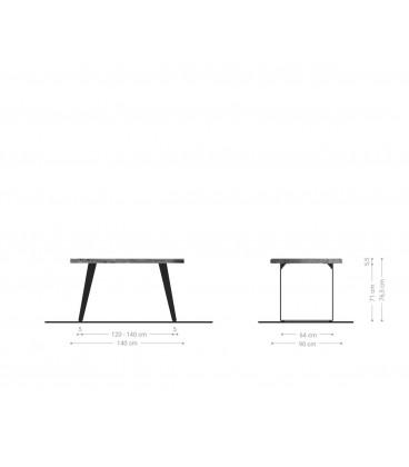 Jídelní Stůl Live 140x90 cm Akácie Hnědá Deska 5 cm Nohy Šikmé Nerez