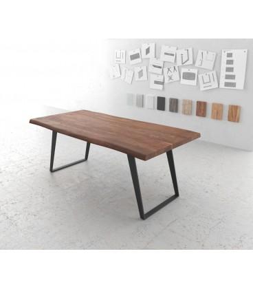 Jídelní stůl Live 200x100 cm Akácie Hnědá Deska 5.5 cm Nohy Šikmé Černé