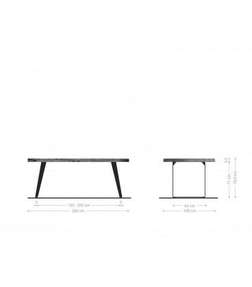 Jídelní stůl Live 200x100 cm Akácie Přírodní Deska 5.5 cm Nohy Šikmé Černé