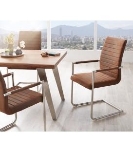 Jídelní Židle Haan Hnědá Vintage s Opěrkami Nerez